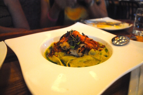 Tallarines con Camarones - grilled prawns, tagliatelle, peanuts, Peruvian mint pesto