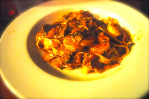 Tagliolini with Mushrooms and Tiger Shrimp