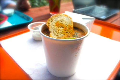 White bean and kale soup with chili oil & sourdough croutons