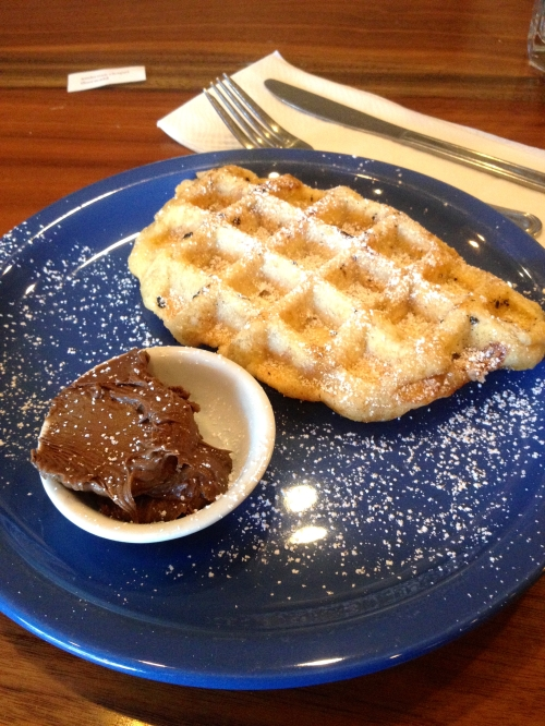 Traditional Liege Waffle with Hazelnut Chocolate on the side