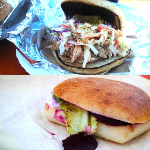 Carolina-style pulled chicken sandwich