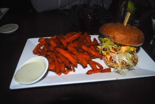 Blackened local halibut burger