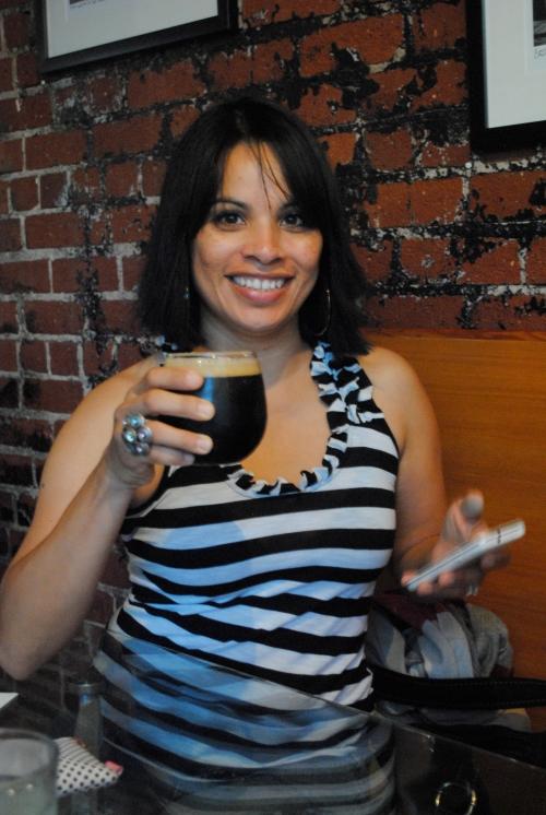 Veronica enjoys a cold brew