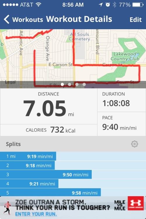 A post-run screen shot from Map My Run