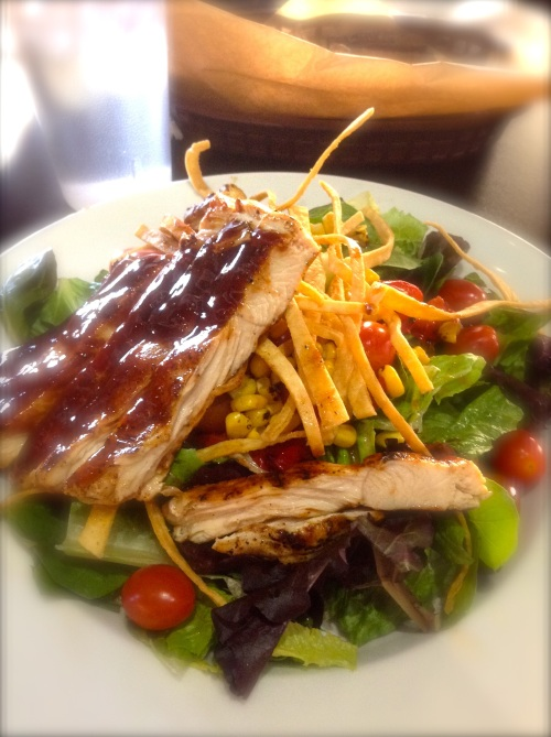 House salad with BBQ chicken